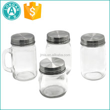 wholesale unique design 300ml 450ml square mason glass jar with metal lid