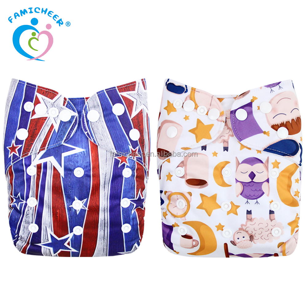 Adjustable Reusable Washable Baby Cloth Diaper Colorful Print