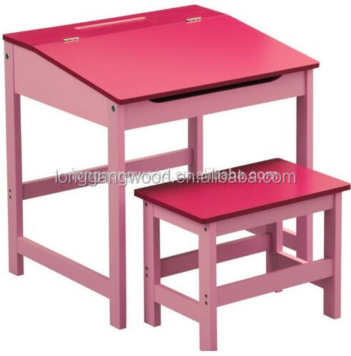 Childrens Kids Home Work Writing Reading Study Table and Stool Set Storage Desk