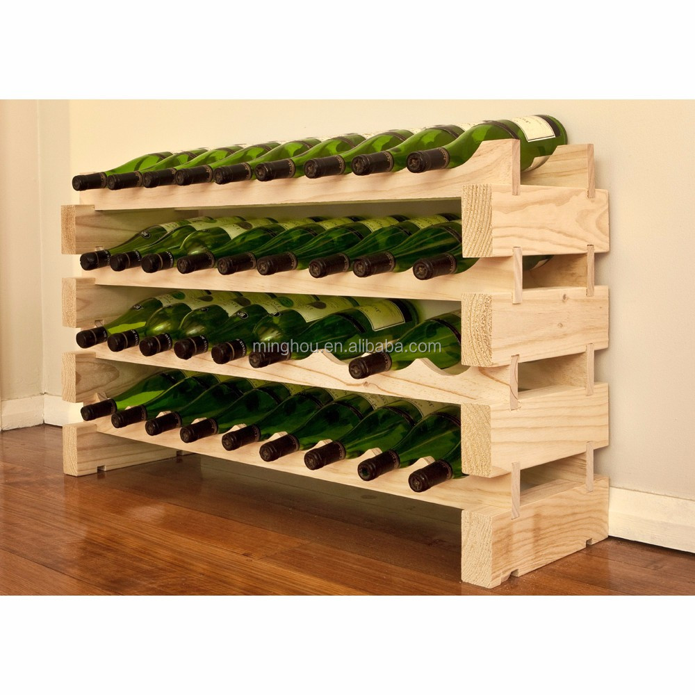 Pine Wood 6 12 14 18 24 bottles Modular Stackable wine rack for Wine Storage