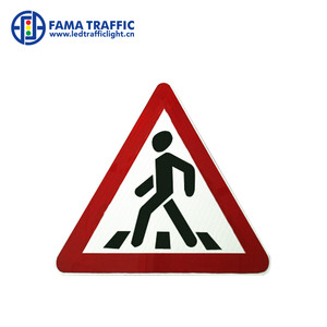 600*600 solar warning pedestrian traffic road sign