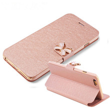 "Luxury Fashion Butterfly Built-in Card Slot Silk Pattern 4.7"" Stand Flip Leather Mobile Phone Case For iPhone 5 SE 6 6S Plus 7"