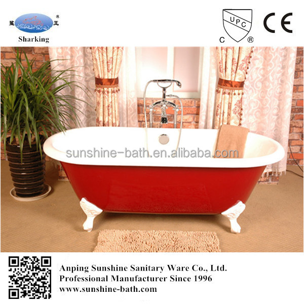 red antique worldly used cast iron bathtub for project
