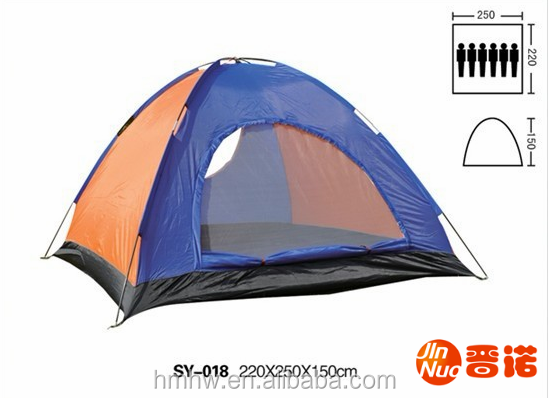 6 person single layer one door camping tent