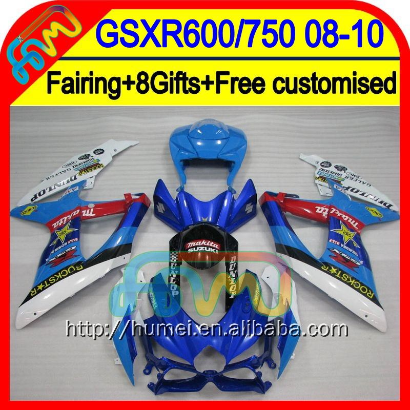 8Gift+ For SUZUKI GSXR600 2008 2009 2010 Blue white 84CL387 GSX-R600 K8 08-10 GSXR 600 GSX R600 NEW Blue white 08 09 10 Fairing