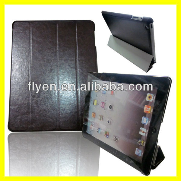 tri fold magnetic leather case stand for ipad 4 ipad 3 ipad 2 smart crocodile skin cover best wholesale