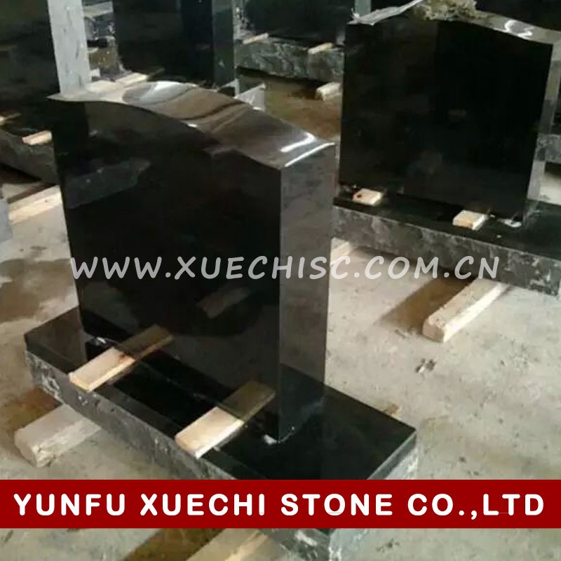 Black Granite upright headstones, black granite grave markers