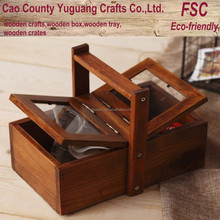 Finished wooden box with handle,carrier box with handle,hanging box with glass lid