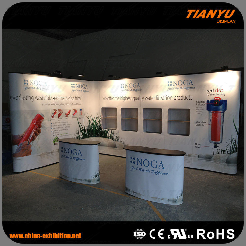 Trade Show PVC or Fabric Pop Up Stand with Show Cases