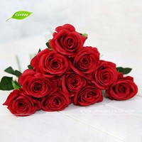 FLS01 GNW wedding home artificial red silk big rose flower bouquet decoration