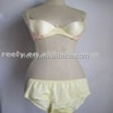 Ladies' s silk bra and panty set yellow color