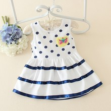 newest organic cotton children girls smocked frock design dress polk dot design for baby of 1-4years old