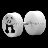 New UV Acrylic pretty Panda logo fake ear plugs piercing body jewelry