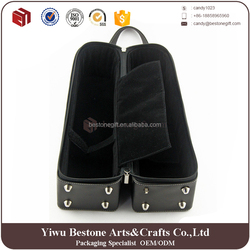 High end hot sale fashion black faux leather 2 pack bottle wine carrier,leather wine bottle carrying case