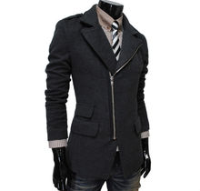 walson High quality new arrival oblique zipper design winter wool coat for men,special big turn down collar,M/L/XL/XXL