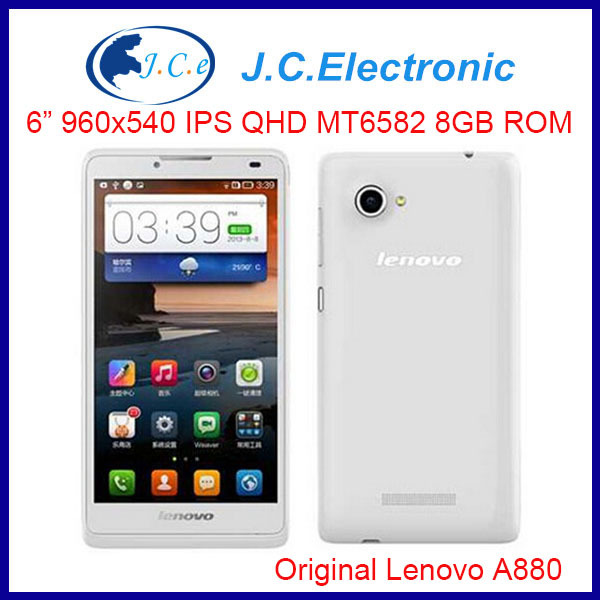 "6"" Original Lenovo A880 MTK6582 6"" screen Quad Core Android cell Smartphone1GB RAM 8GB ROM GPS 3G WCDMA"