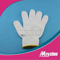 2013 Cotton Knited Nature Bleached White working Safety Gloves with custom made