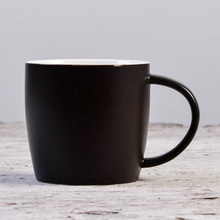 Wholesale 12oz porcelain type inner white outside matte black ceramic mug