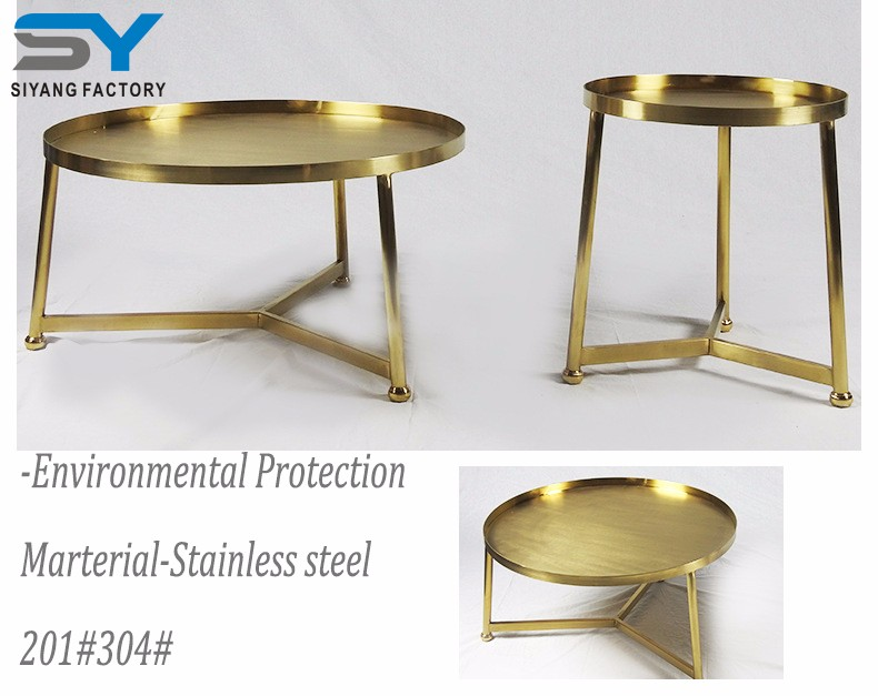 Gold metal frame storage small sofa side table JJ003