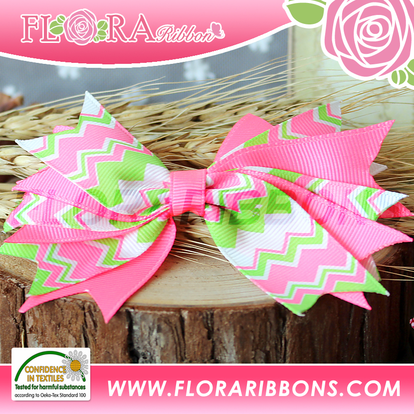 Colorful Grosgrain Large Flower Bow Hair Clips for Little Girls