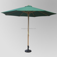 Polyester 2.7M wood sun garden parasol for swimming pools/ parasols base