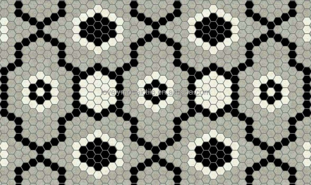 Ceramic Hexagon Pattern Black White Grey Floor Tiles Design Buy Ceramic Flo