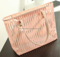 candy color strips clear reusable shopping tote bag 2016