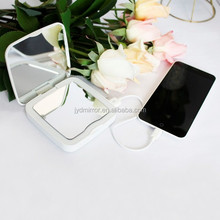 fashion led lighted cosmetic mirror 3000mAh power bank for ladies led travel mirror