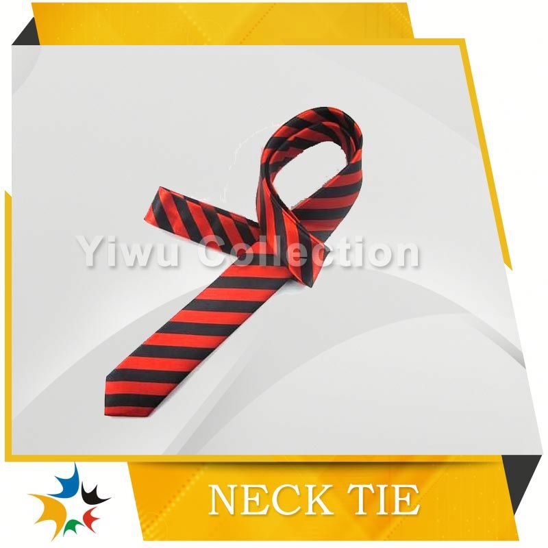 Crimson Red and Golden Yellow Striped Skinny Tie