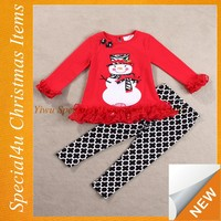 New arrival Christmas Clothing sets boutique girls new year sets baby ruffle shirt with black pants Lyd-1118
