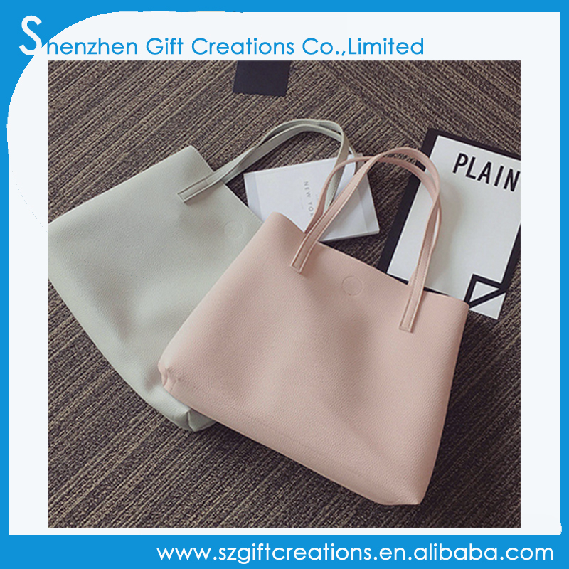 Wholesale soft pu leather handbag tote bag for young lady