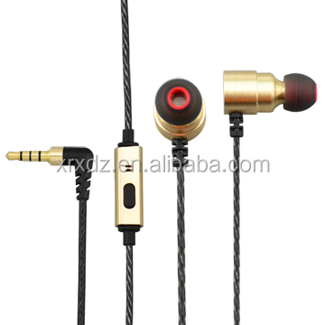 Gold Copper Housing Wired Ear phone with Silicone Ear Tips and Speaker for mp3 mp4 Player
