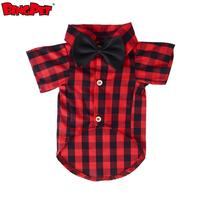 Pet Apparel Accessories Red And Black Lattices Custom Dog t Shirt With Bowknot