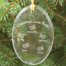 clear glass flat ornaments glass ornament oval SJ-GJ313