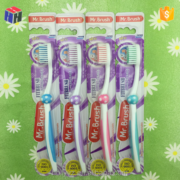 Dental equipment bristle adult toothbrush head with rubber massage