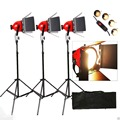 Continuous Light Kit with Rolling Case: 3x 800w Dimmable Red Head Lights
