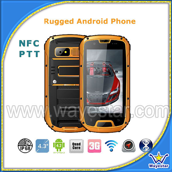 Latest MTK6589 Quad Core NFC 1G /4G True Tri Proof IP68 Outdoor Mobile Phone