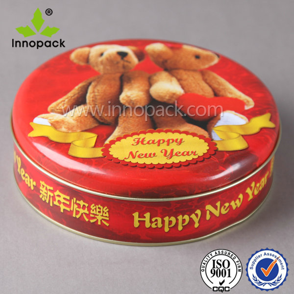Round biscuit cookie metal tin box for food and gift packaging