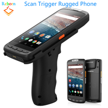 Android 7.0 2GB 16GB 1D 2D Barcode Scanner NFC 4G Smart Rugged Phone With Scan Trigger