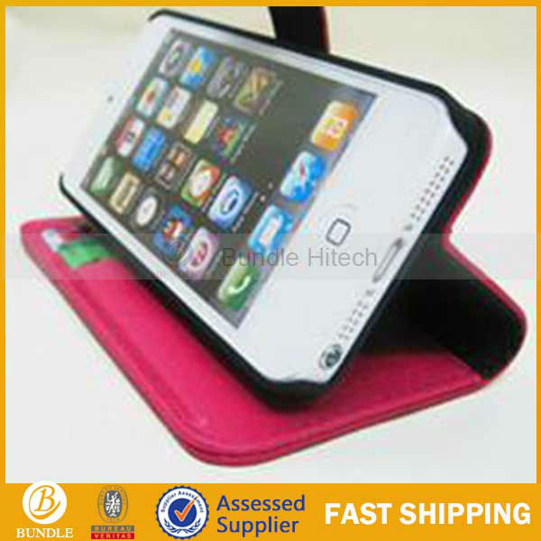 Flip Cover Credit Card Slots Stand Wallet Genuine Leather Case for Apple iphone5