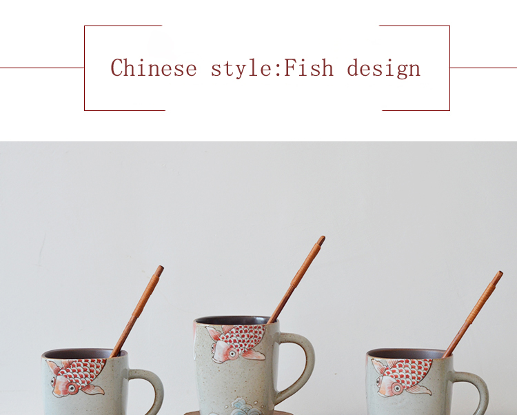 hot selling square shape fish design tea cups