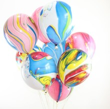 hot sale party <strong>12</strong>&quot; round shape marble agate latex balloons