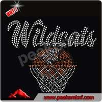 Best Saling Iron on Motif Wldcats Basketball Hotfix Rhinestone for Garments