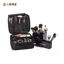 black 1680D nylon vanity makeup case bag travel organizer tool bag for make up artist