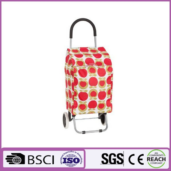 Promotion cheap recyclable shopping trolley bag with wheels portable suprmarket vegetable shopping bags