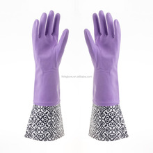 sexy extra long household latex glove with design