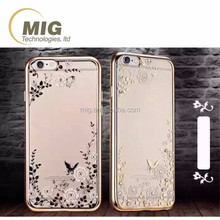 products China Flowers garden electroplating bumper transparent TPU case For apple iphone 6 case Phone accessory