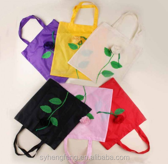 HF-FB-99 Zhejiang shaoxing Creative polyester bags, folding roses shopping bags,environmental flowers shopping bags.