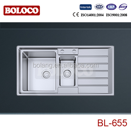 BL-656L New model R19 Italy design one and half bowl stainless steel sink