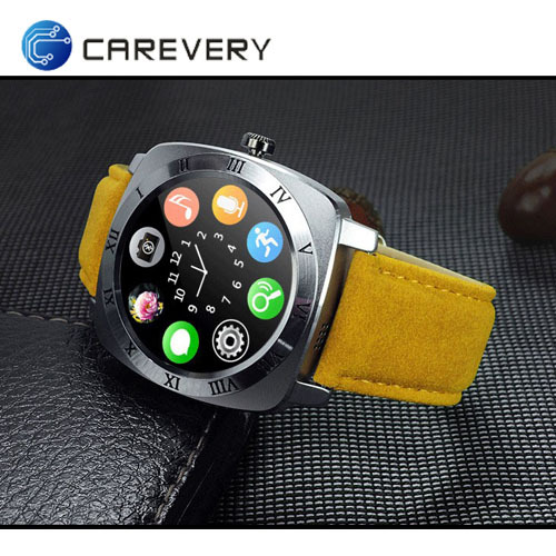Round touch screen smart watch with sim card slot, unlocked smart watch with camera